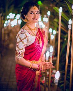 50 Pattu Saree Blouse Designs To Rock Your Desi Bridal Look Blouse Back Neck Designs, South Indian Wedding Saree, Saree Wedding, Pattu Saree Blouse Designs, Bridal Looks, Designer Dresses, Maggam Works, Fashion Ideas, Women's Fashion