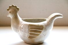 David Stewart Lions Valley Pottery Speckled Hen  Planter Mid Century Stoneware Chicken by digatomic on Etsy