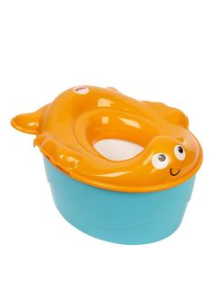 3-in-1 Goldfish Potty. The Fisher Price Goldfish PottyCute goldfish character potty 'grows' with your child from a friendly training potty, to a removable potty ring for use on the regular toilet, plus a sturdy stepstool that helps kids get on and off the toilet and reach the sink to wash hands!