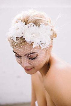 Floral Hair Ribbon Veil | Blusher Veil by Sara Gabriel