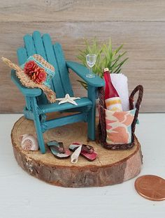 Miniature Beach Scene Miniature Adirondack Chair Vacation
