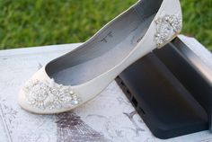 FLAVIE - The reception flat. In Ivory  satin flat adorned with haute couture hand beaded trim with rich beads and rhinestones    Full sizes 1920s Wedding, Wedding Wear, Wedding Shoes, Dream Wedding, Wedding Attire, Wedding Stuff, Comfy Shoes, Bridal Flats, Sydney Wedding