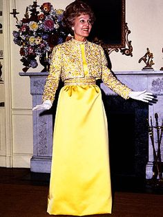 "Pat Nixon  For the 1969 gala, Nixon selected a mimosa-hued gown designed by Karen Stark for Harvey Berin. ""The Nixons are middle-American people who don't want to be flash-in-the-pan,"" her wardrobe mistress Clara Treyz told Time. ""They don't want to be jet-setty or way out. Mrs. Nixon must be ladylike."" The First Lady wore the Swarovski crystal-studded satin dress and matching bolero jacket to two more public events."