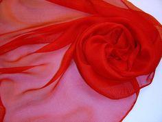 Seidenschal 180x45cm rot Tissu de gaze Stola von Textilkreativhof auf DaWanda.com