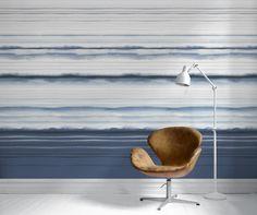 ECO Earth 7638 Vlies-Tapete 265cm x 90cm Digitaldruck endlos erweiterbar Blautöne