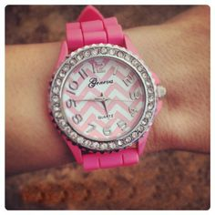 Chevron Sparkle Watch - Pink $24.99 #southernfriedchics