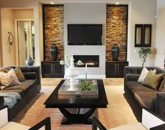 Design Ideas for Fireplace Walls with shelves | Fireplace Wall Ideas With Living Room Comfortable Sofas