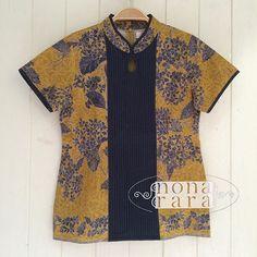 B310514 - IDR295.000 Bustline : 88cm Fabric: Batik Encim Pekalongan Batik Blazer, Blouse Batik, Batik Dress, Big Size Fashion, Batik Kebaya, Batik Fashion, Wardrobes, I Dress, Dress Collection