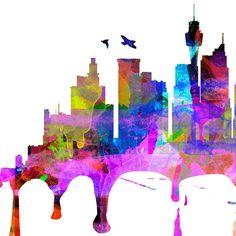 Dallas Skyline Dallas Watercolor Dallas Map Dallas Art Dallas Print... ($39) ❤ liked on Polyvore featuring home, home decor, wall art, black, home & living, home décor, wall decals & murals, wall décor, black and white picture и window decals