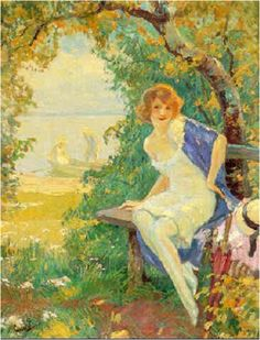 Edward Cucuel - Sitting girl at the sea shore