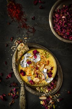 Kesar lachcha rabdi /A delicious desert drink w/rose petals, saffron, whole milk etc.