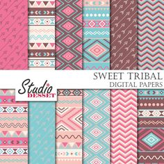 Sweet Tribal Paper Ethnic Patterns in Baby Blue by StudioDesset, $3.60