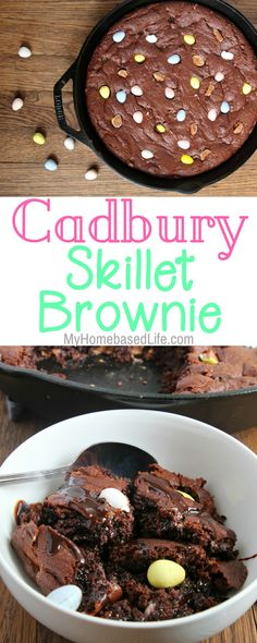 It's time to plan your Easter dinner and I have just the perfect dessert for you. This Cadbury Eggs Skillet Brownie Recipe is ooey, gooey, scrumptious, and a family favorite. | #dessert #recipe #easter #cadburyeggs #tasty #chocolate | Dessert Recipe | Chocolate Dessert Recipe | Brownie Recipe | Cast Iron Skillet Dessert | Easter Dessert | Easy Dessert Recipe |  via @myhomebasedlife