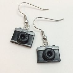 Polymer Clay 35mm Camera Earrings by PasticheAccessories on Etsy