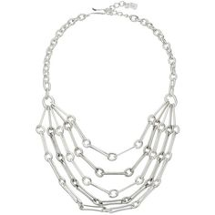 Robert Lee Morris Silver Multi Row Chain Necklace (Silver) Necklace ($68) ❤ liked on Polyvore featuring jewelry, necklaces, silver jewellery, adjustable necklace, adjustable chain necklace, multi-strand necklaces and silver necklace