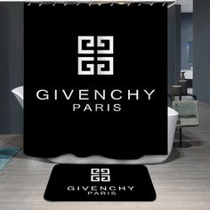 Luxury Givenchy Logo Custom Shower Curtain - Home Decor - Custom Shower Curtains, Fabric Shower Curtains, Givenchy, Bathroom Drawers, Shower Accessories, Home Logo, Modern Bathroom Design, Modern Fabric, Dream Homes