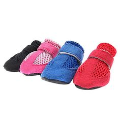 Suede Breathable Mesh Velcro Shoes for Pets Dogs (Assorted Colors, Sizes) – USD $ 6.79