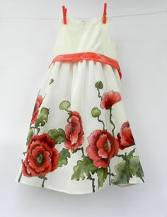 Red Poppies hand painted silk dress .Red green by ArmeniaOnSilk, $140.00