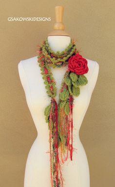 Queen Ann Rose Lariat-Red by gsakowskidesigns on Etsy