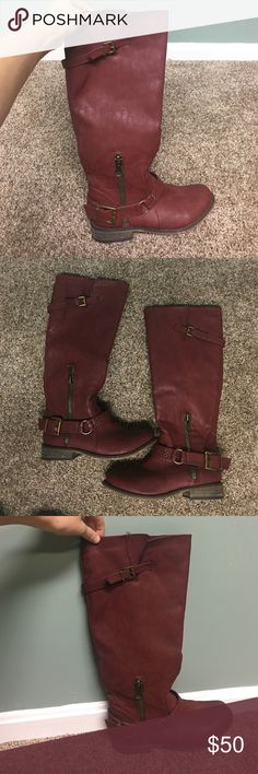 deep red tall riding boots worn twice and in very good condition! Shoes Combat & Moto Boots