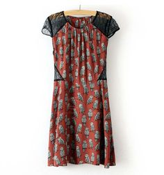 Slim Fit Owl Pattern Lace Splicing Short Sleeve Dress For Women (RED,L) China Wholesale - Sammydress.com