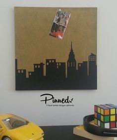 Skyline design pinboard hand painted cork board memo by pinnednz #pinboard #corkboard #boysroom #skyline #superhero