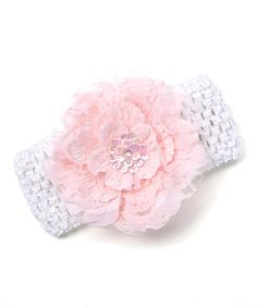 White & Light Pink Flower Headband - Infant