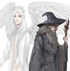 "melkorwashere: "" sketching) Gandalf and Gandalf 8) Or Olorin - in Valinor &…"