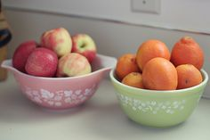 I love to display my fresh fruit in vintage pyrex bowls!