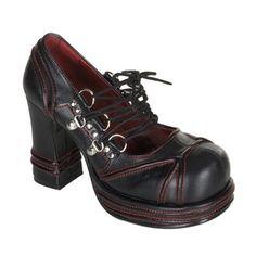Lace-up Black/Red Platform Shoes