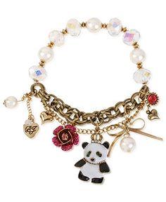 Betsey Johnson Bracelet, Antique Gold-Tone Glass Half Stretch Panda Bracelet - Fashion Jewelry - Jewelry & Watches - Macy's