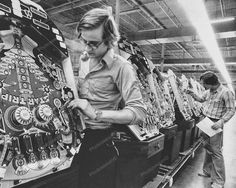 Star Trip Pinball Machine Factory Line at Game Plan Reprint Of An 8x10 Old Photo