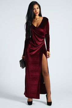 Cameron Velvet Wrap Front Maxi Dress at boohoo.com