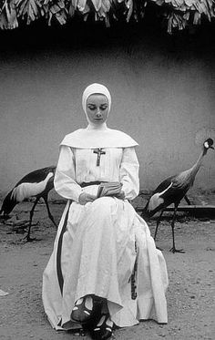 """Audrey Hepburn (INFP), filming  'The Nun's Story', 1959, in the former Belgian Congo.  """"I have to be alone very often. I'd be quite happy if I spent from Saturday night until Monday morning alone in my apartment. That's how I refuel.""""  - Audrey, LIFE Magazine, 1953.  (That's an Introvert quote, not specifically an INFP quote.)"""
