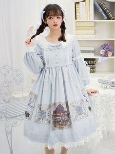 4e0864b4b Sweet Lolita OP Dress Gallery Printed Baby Blue Buttons Lolita One Piece  Dresses