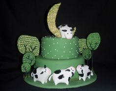 Cow Jumping Over The Moon threadcake
