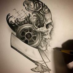Steampunk skull tattoo art design collage