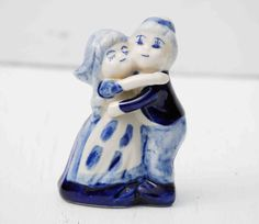 Vintage Delft Blue Wedding Cake Topper  Bride & Groom Porcelain Dutch Boy and Girl Hugging