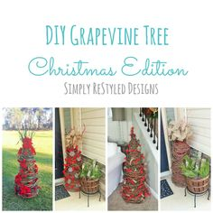 Hello everyone! Remember back in the fall when I showed you my DIY grapevine tree made from a tomato cage and how I decorated it for the fall? Here is my Christmas edition! I ended up making a few of these for Christmas. You can read the fall grapevine tree post here. For my video …