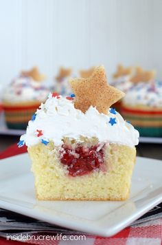 Vanilla Cherry Pie Cupcakes - homemade vanilla cupcakes filled with a hidden pocket of cherry pie filling