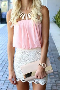 A little to formal for me... but the outfit is cute, I like the lace skirt