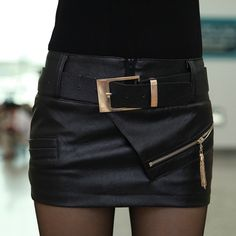 Free shipping new fashion 2014 sexy leather skirt boots pants short leather skirt bust skirt PU culottes with belt D1287