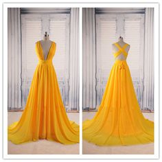 Prom Dresses,Evening Dress,Yellow Prom Dresses,Backless Prom Gown,Open Back