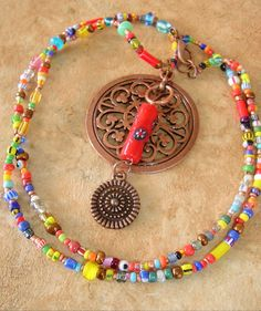 Boho Necklace, Bohemian Jewelry, Colorful Jewelry, Hippie, Long Beaded Necklace on Etsy, $59.00