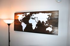 Wood World Map Wall Art  21 x 48 by WCoastCreations on Etsy, $115.00