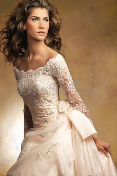 Off the Shoulder Satin Lace Wedding Dress maybe...I love the top but the waste down is a little too busy