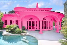 pink houses | ... holiday pink pretty cute girly summer hot pool fortheloveof pink house