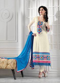 Elegant Cream #Georgette #Churidar #Suit