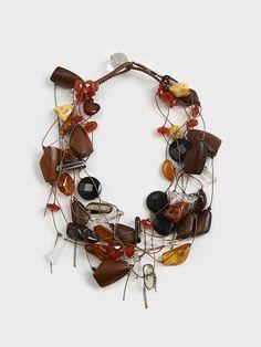 Amber, Tigereye & Carnelian Serpentine Necklace by Simon Alcantara | DARA Artisans