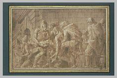 Le Primatice, Hector blessé sous les murs de Troie, plume, encre brune, lavis brun, rehauts de blanc, papier lavé de beige, mis au carreau à la pierre noire. Musée du Louvre.